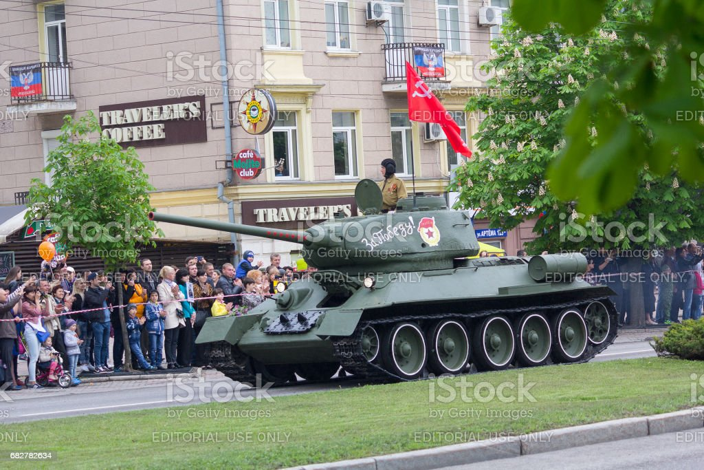 Tank of the Second World War at the military parade stock photo