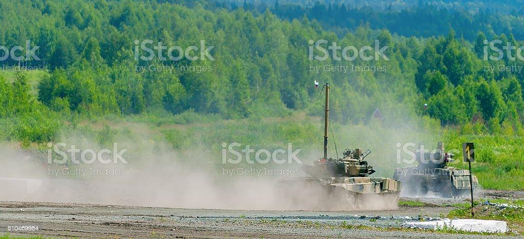 Tank platoon in action. Russia stock photo