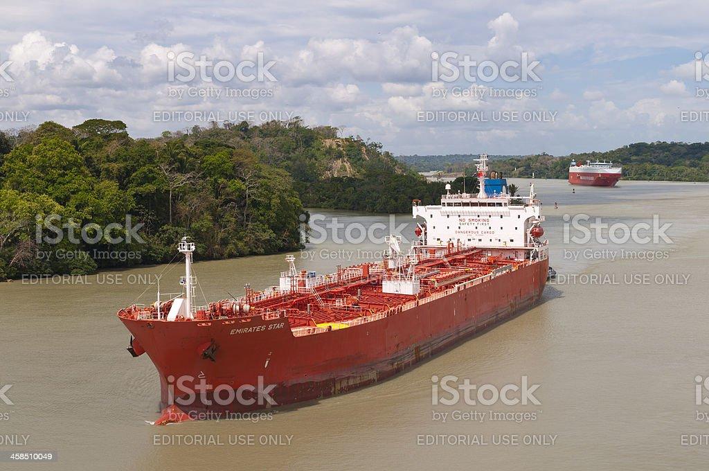Tank Ship Emirates Star in Panama Canal royalty-free stock photo