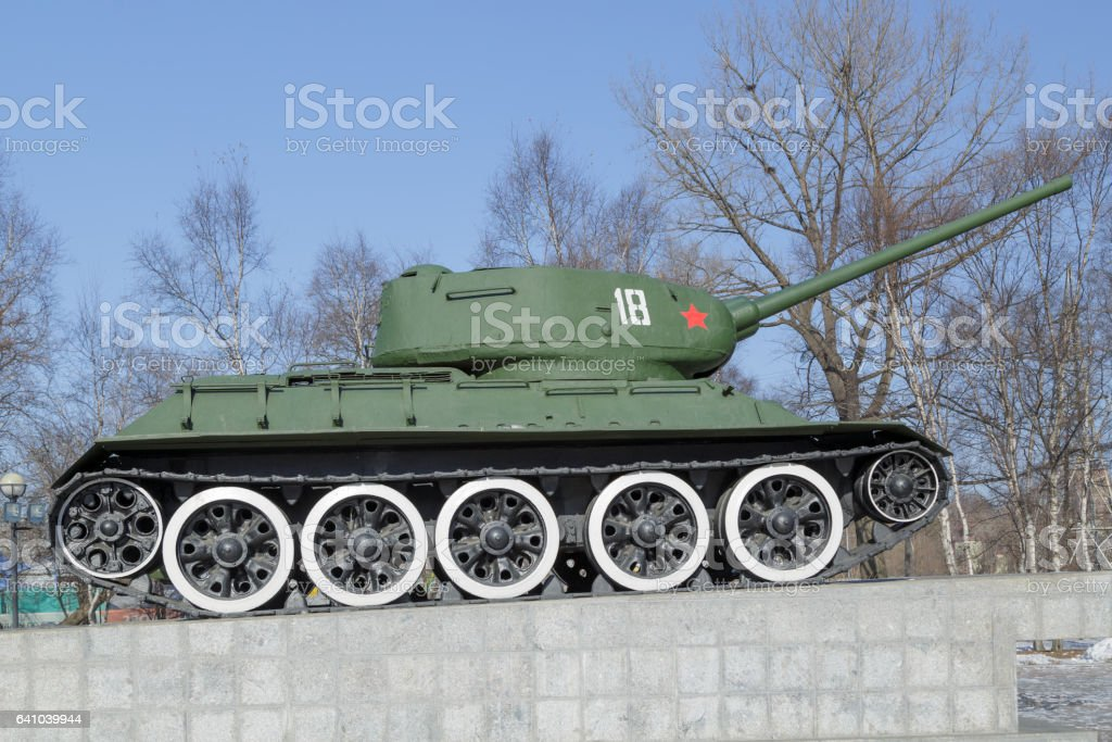 Tank T-34 on a pedestal stock photo