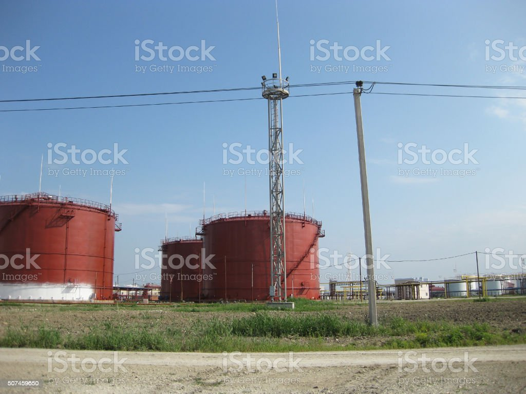 Tank the vertical steel. Capacities for storage of oil  products stock photo