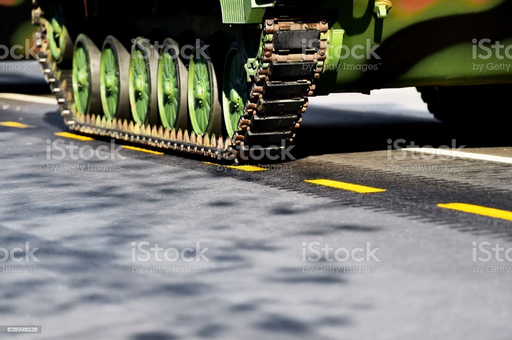 tank tracks and wheels detail stock photo