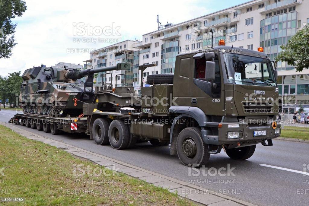 Tank transporter parked on the street stock photo