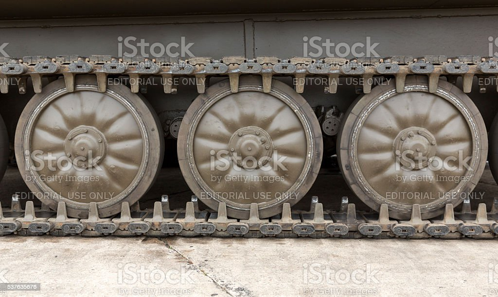 Tank Tread with Wheels stock photo