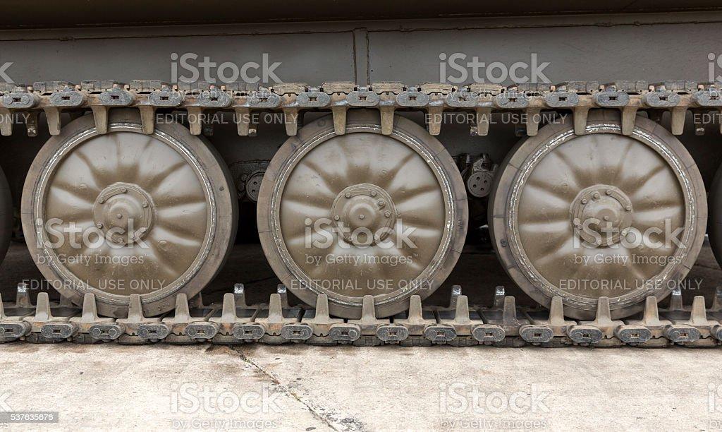 Tank Tread with Wheels stock photo