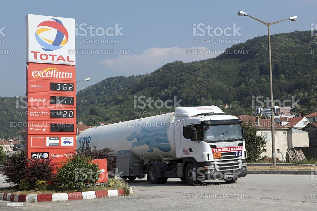 Tank truck passes gas station stock photo