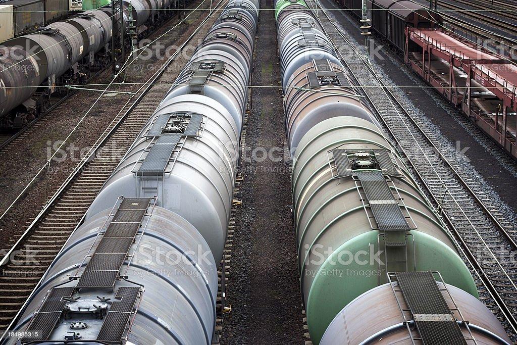 Tank wagons at the freight yard stock photo