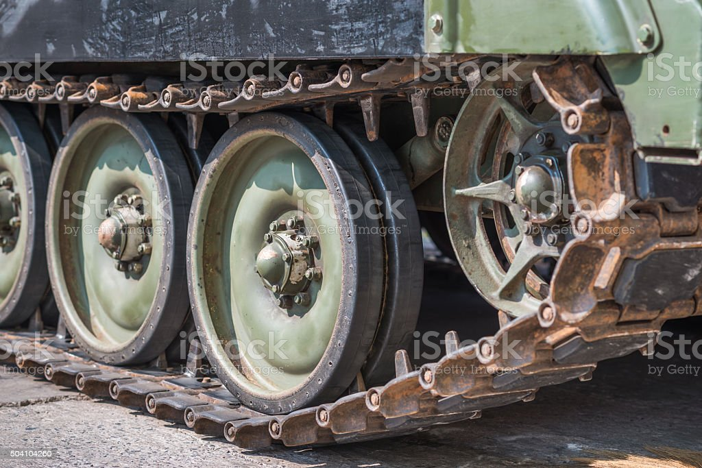 Tank wheel background stock photo
