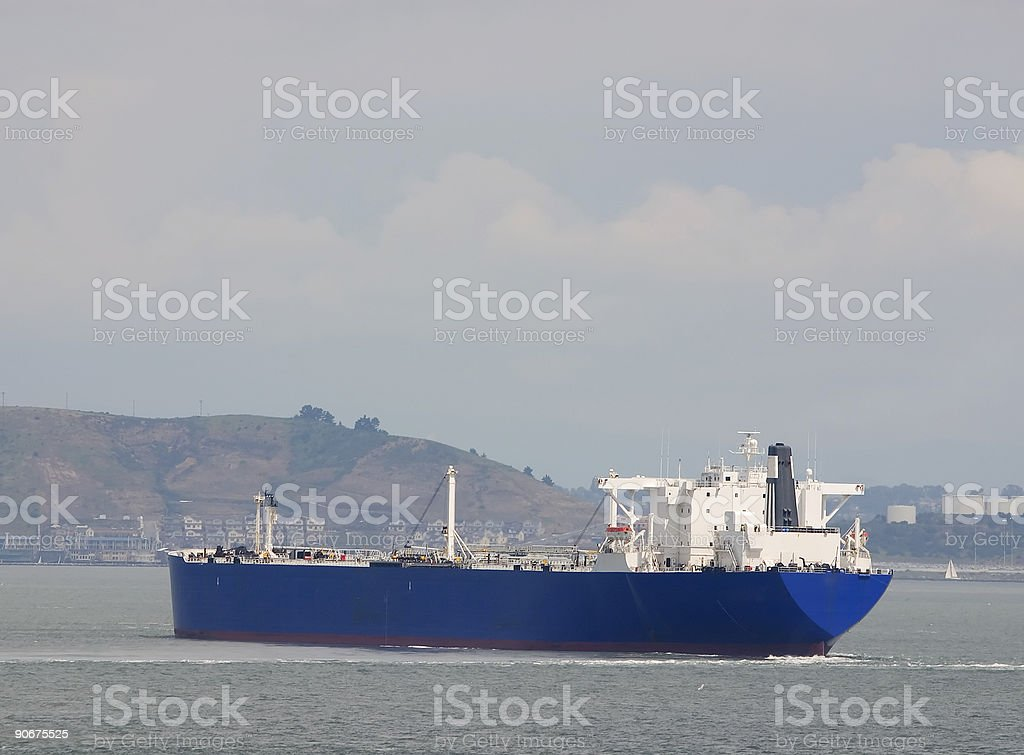Tanker Approaching Land stock photo