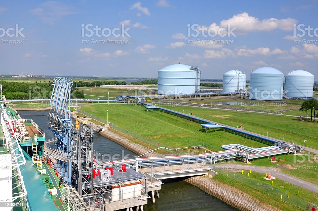 LNG tanker approaching terminal stock photo