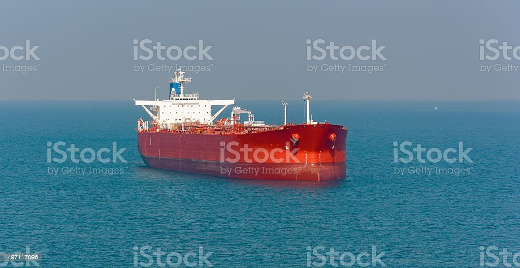 Tanker at anchor in the Strait of Singapore stock photo