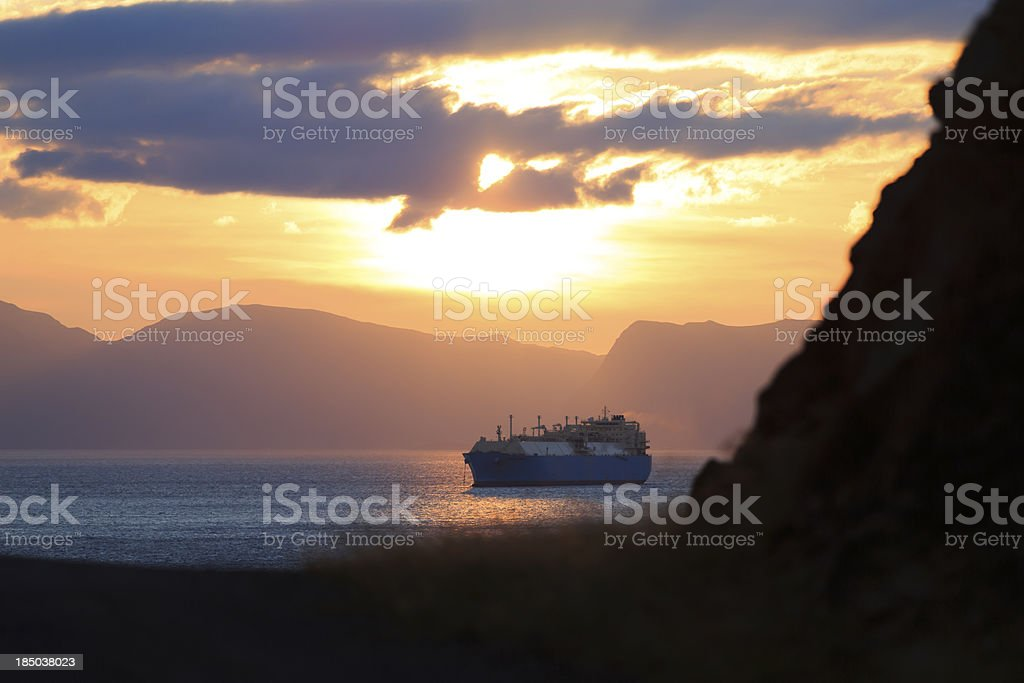 LNG tanker at anchor. stock photo
