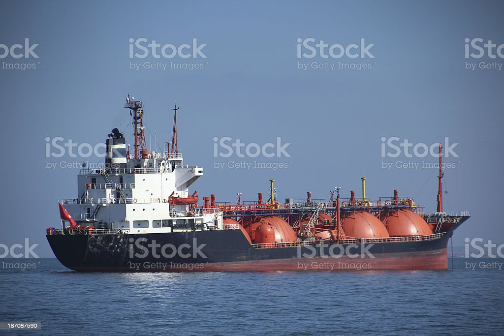 tanker at anchor stock photo
