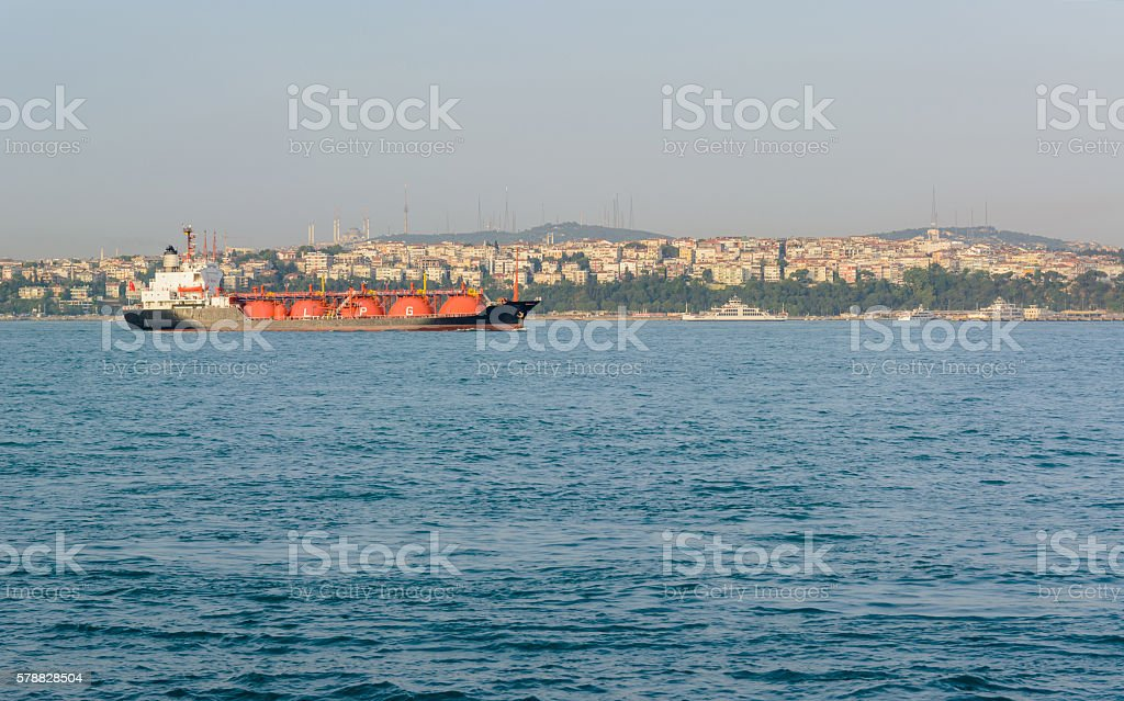 LPG tanker at sea stock photo