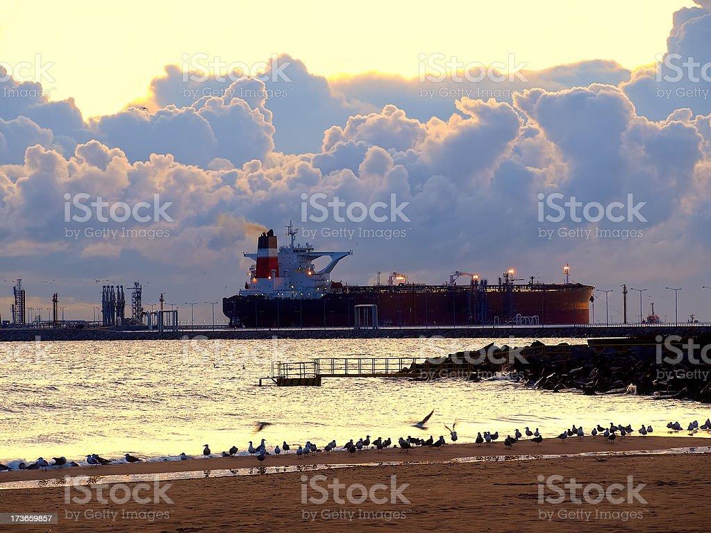 Tanker at sunrise royalty-free stock photo