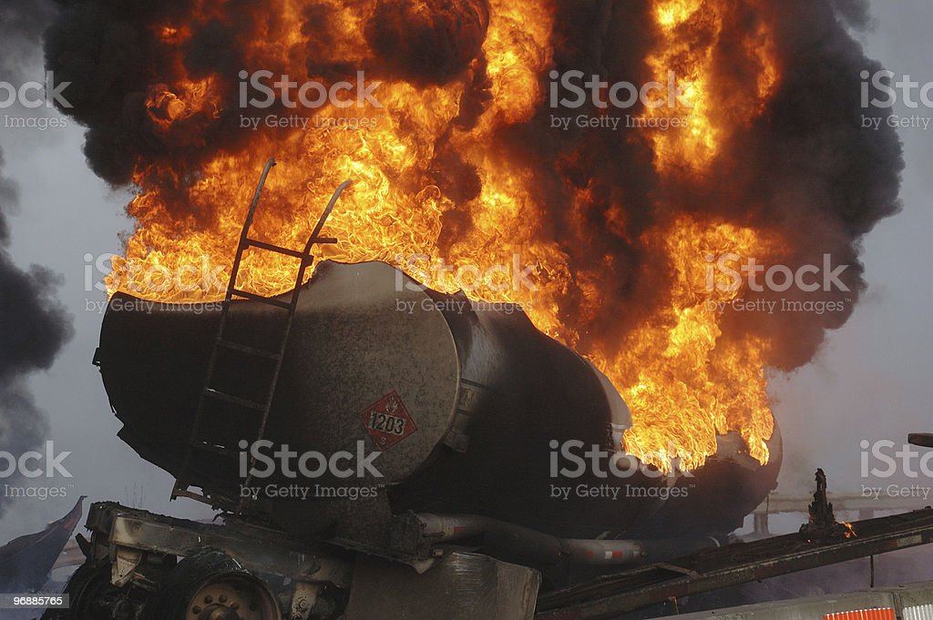 tanker fire stock photo