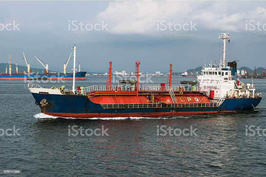 Tanker for the transport of liquefied natural gas on the roads stock photo