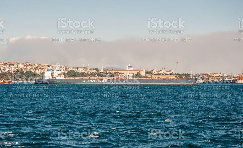 Tanker heavy boat in Bosphorus strait stock photo