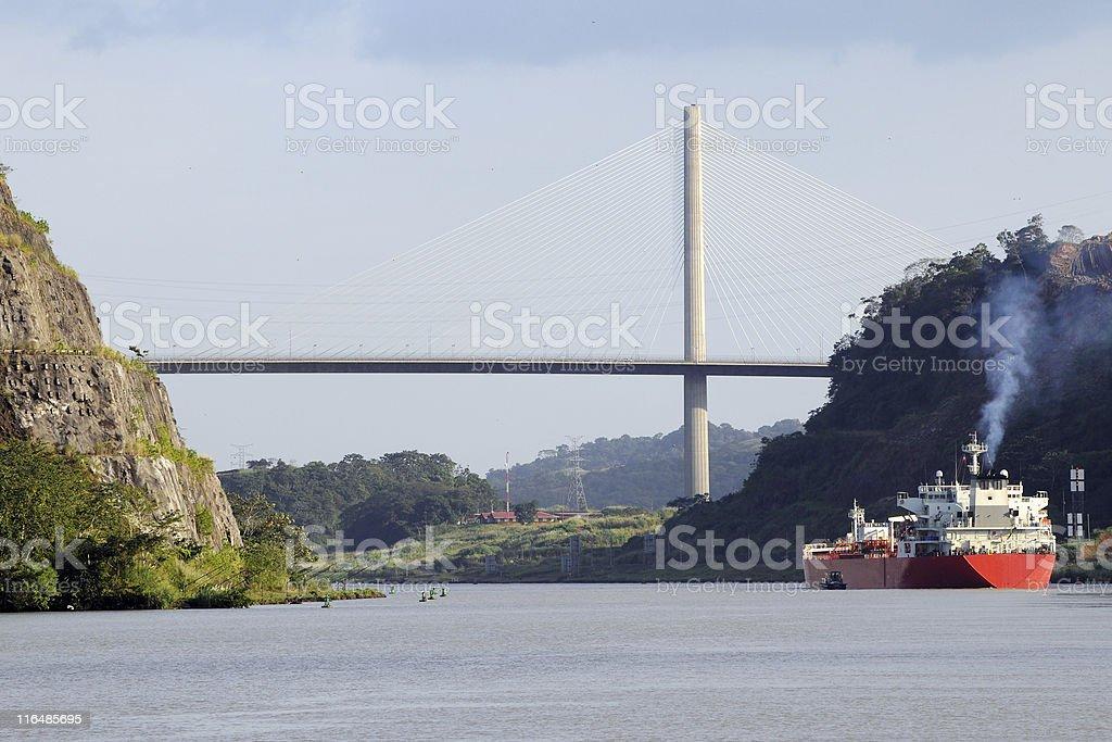 tanker in Gaillard Cut approaching Centennial Bridge, Panama Canal stock photo