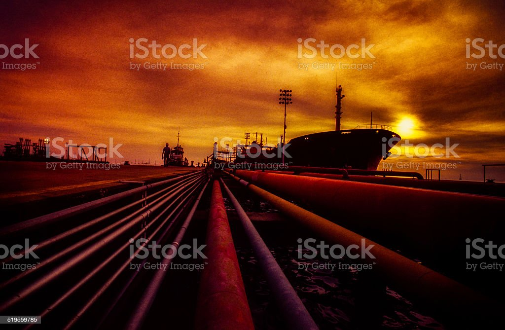 Tanker in Oil Port stock photo