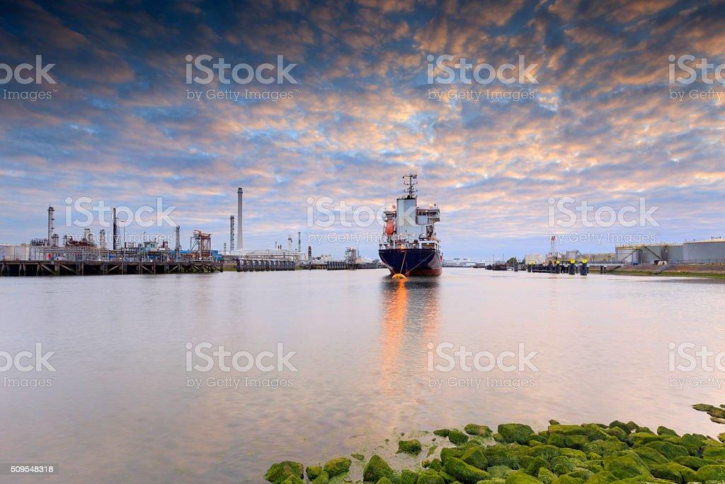 tanker in Rotterdam's Tweede Petroleumhaven stock photo