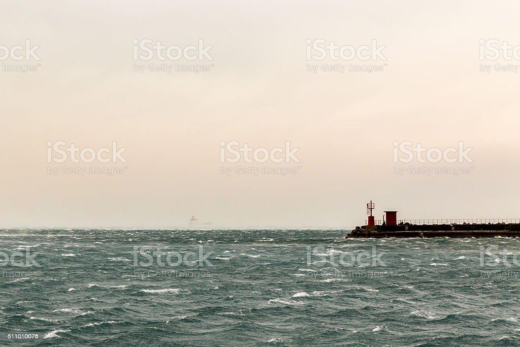 Tanker in the bay of Trieste stock photo