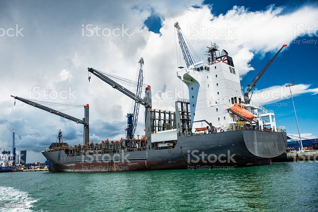 tanker in the port of Miami ready for loading operation stock photo