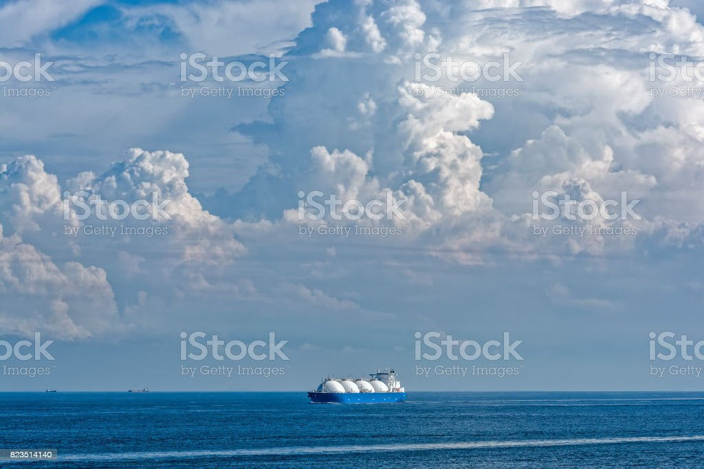 LNG tanker is passing by Singapore Strait. stock photo