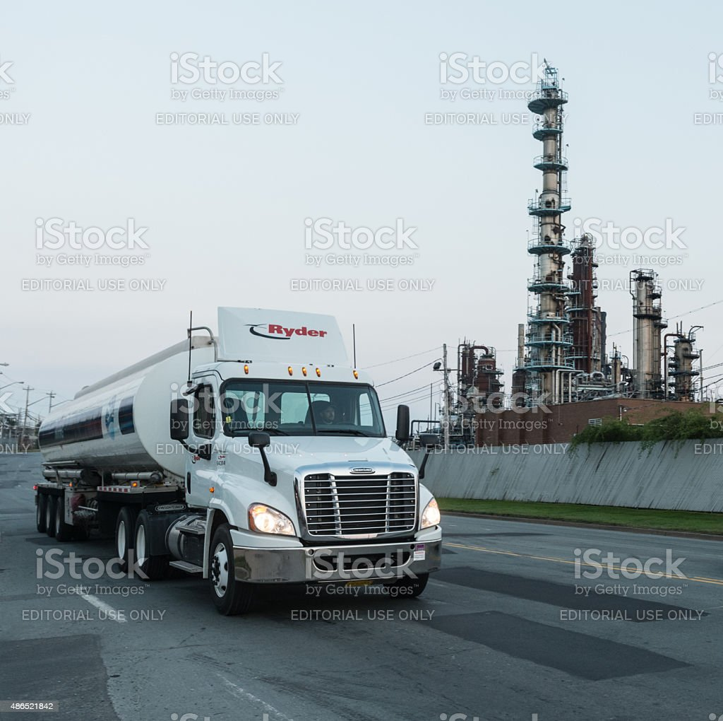 Tanker Leaves Imperial Oil Terminal stock photo