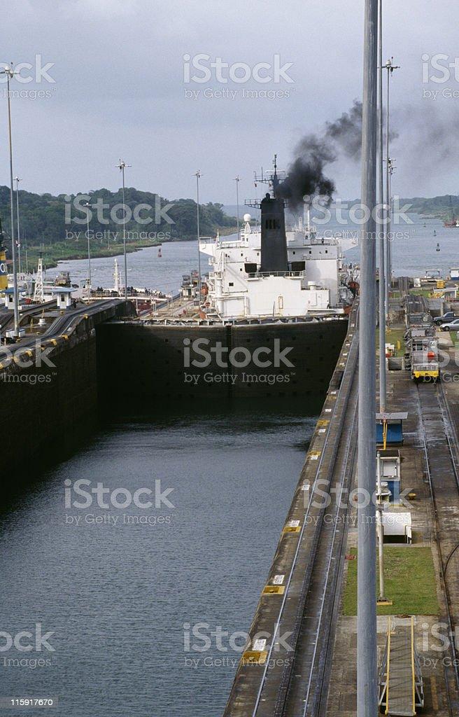 tanker leaving Gatun Locks, Panama Canal royalty-free stock photo