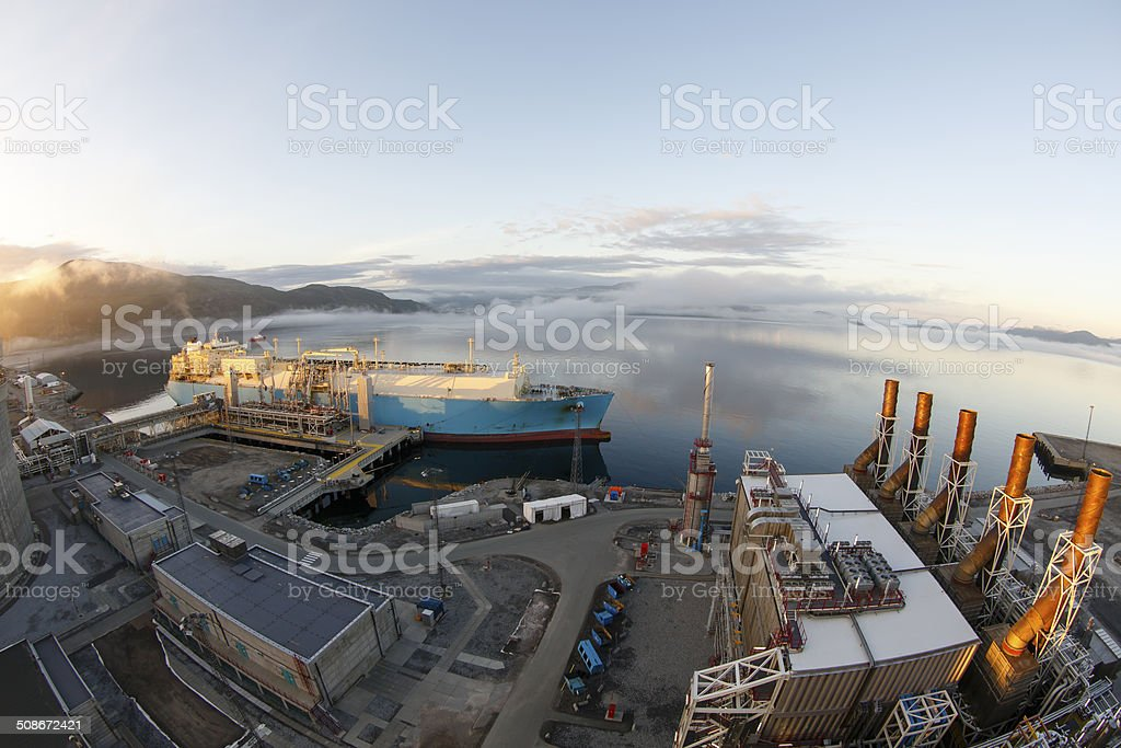 LNG tanker loading. stock photo