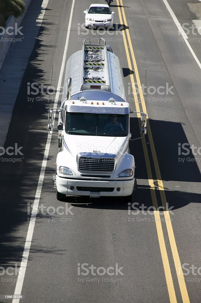 Tanker on highway royalty-free stock photo