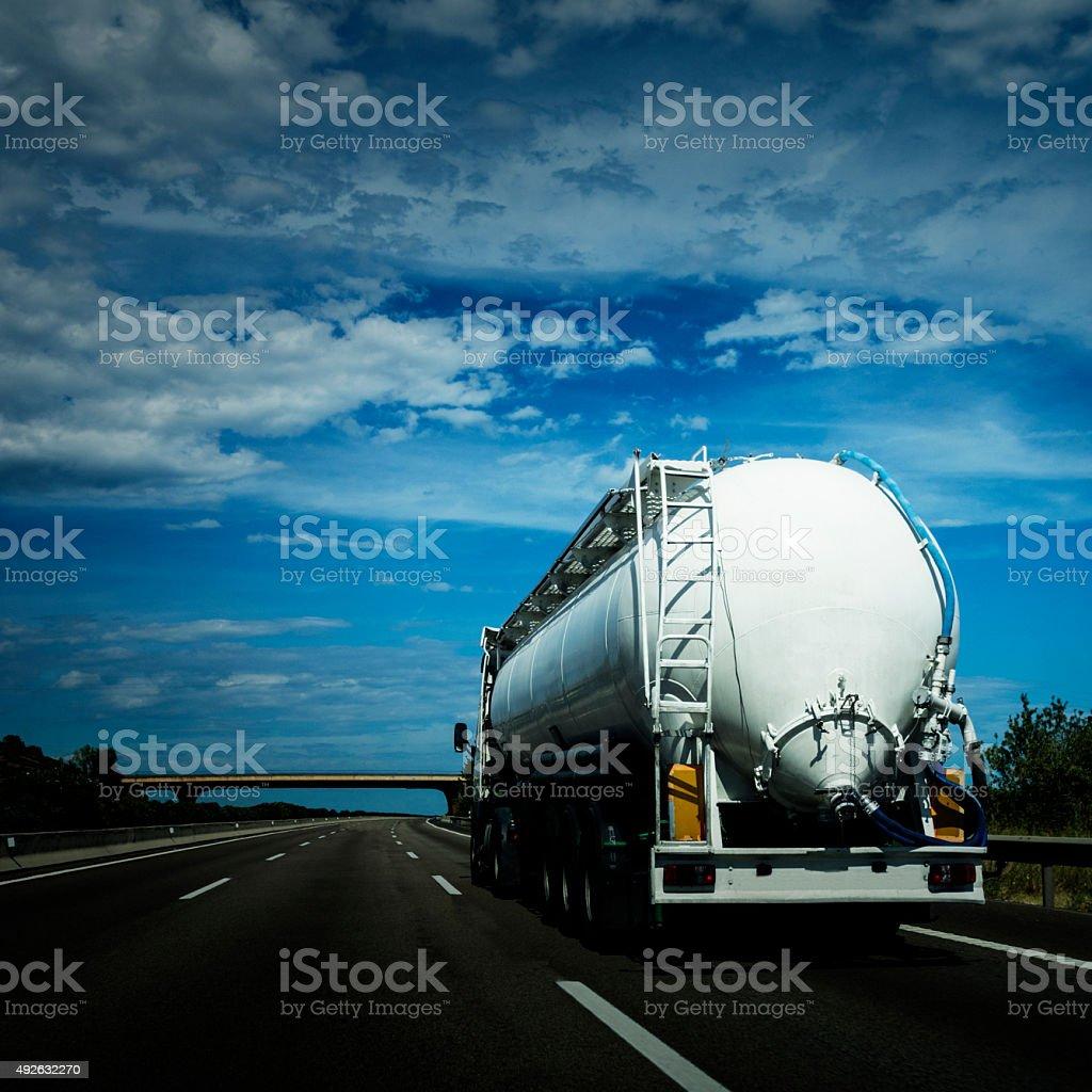 Tanker on highway stock photo