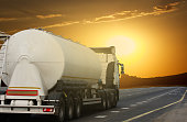 Tanker  on the highway. Working visit