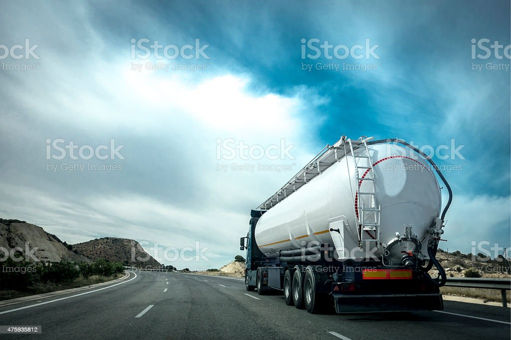 Tanker on the road stock photo