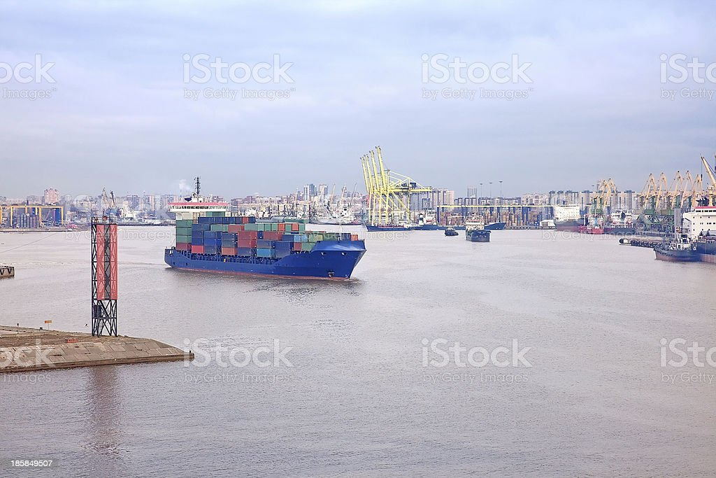 Tanker out to sea royalty-free stock photo