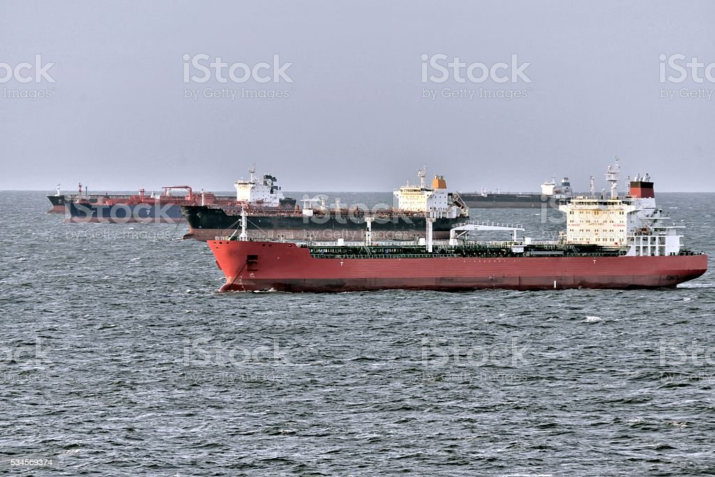 Tanker Parking Lot in the English Channel stock photo
