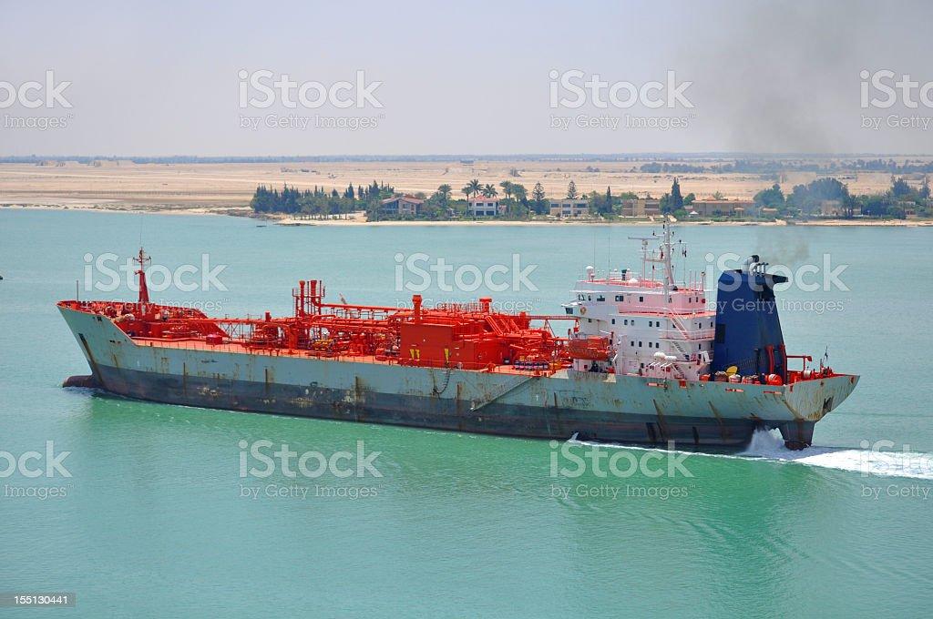 Tanker passing through Suez Canal stock photo