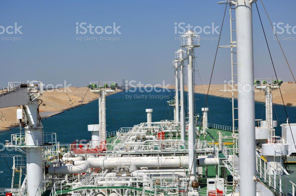 LNG Tanker passing through Suez Canal stock photo