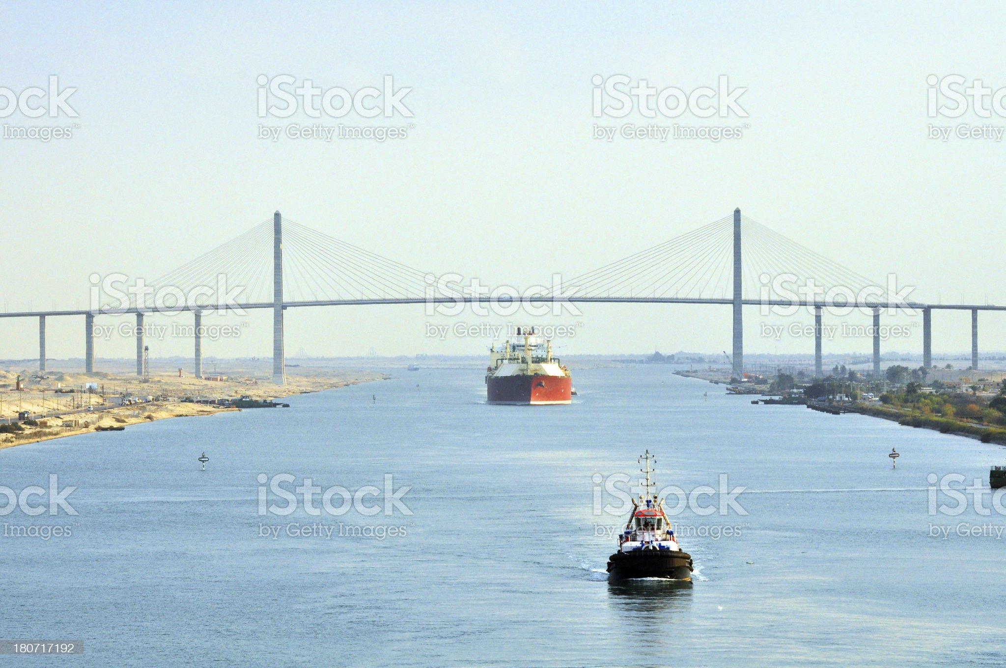 LNG Tanker passing through Suez Canal royalty-free stock photo