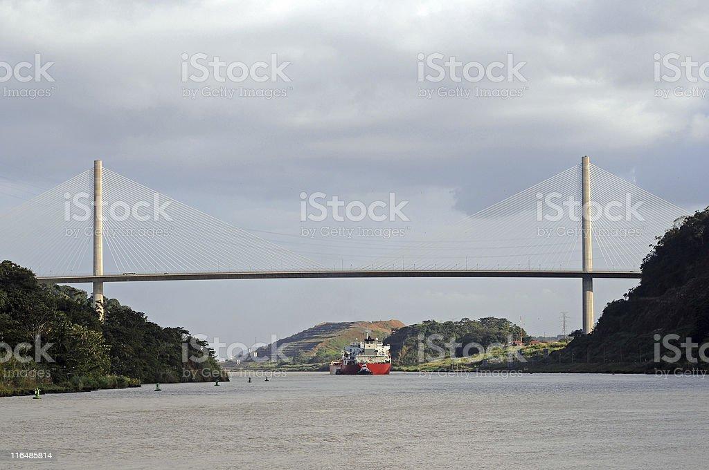 tanker passing under Centennial Bridge, Panama Canal stock photo