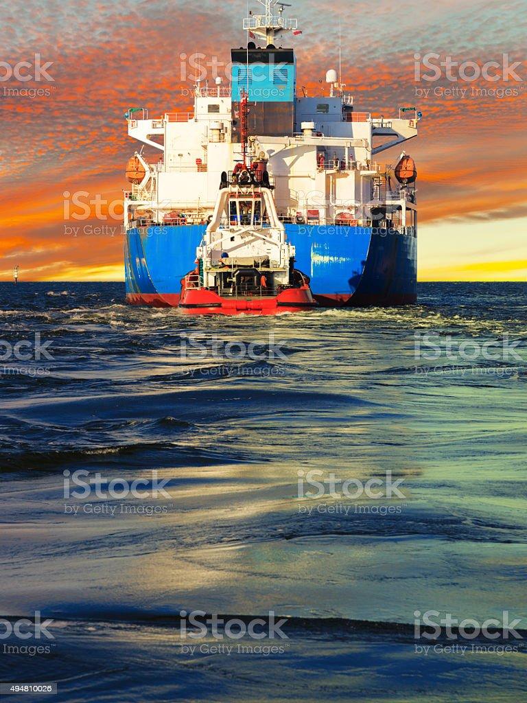 Tanker rear view stock photo