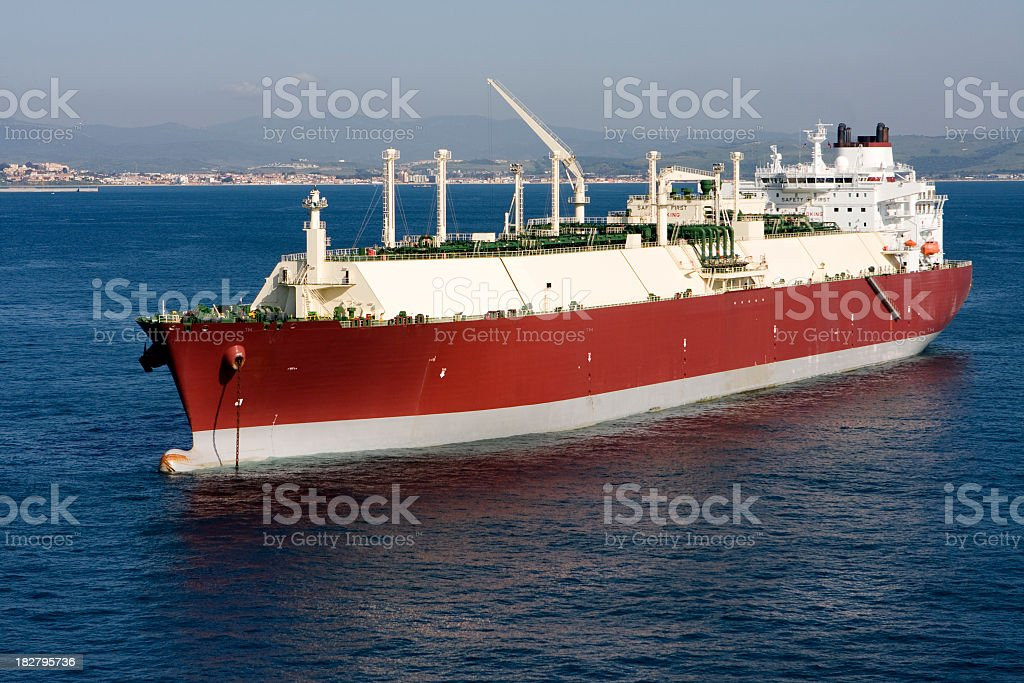 LNG tanker sailing in an ocean stock photo