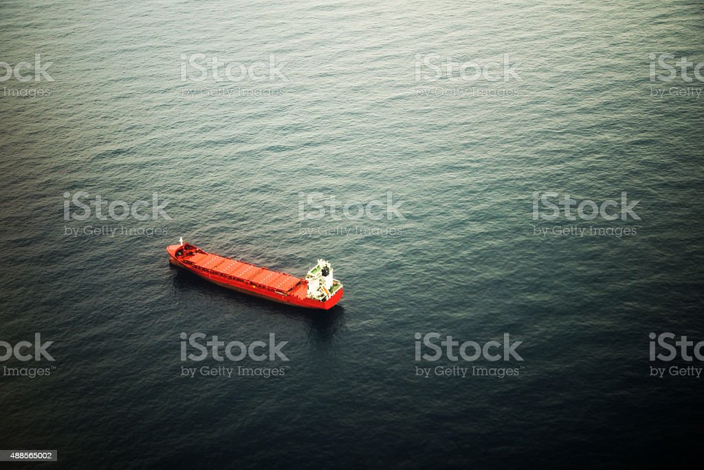 Tanker ship - Aerial view stock photo