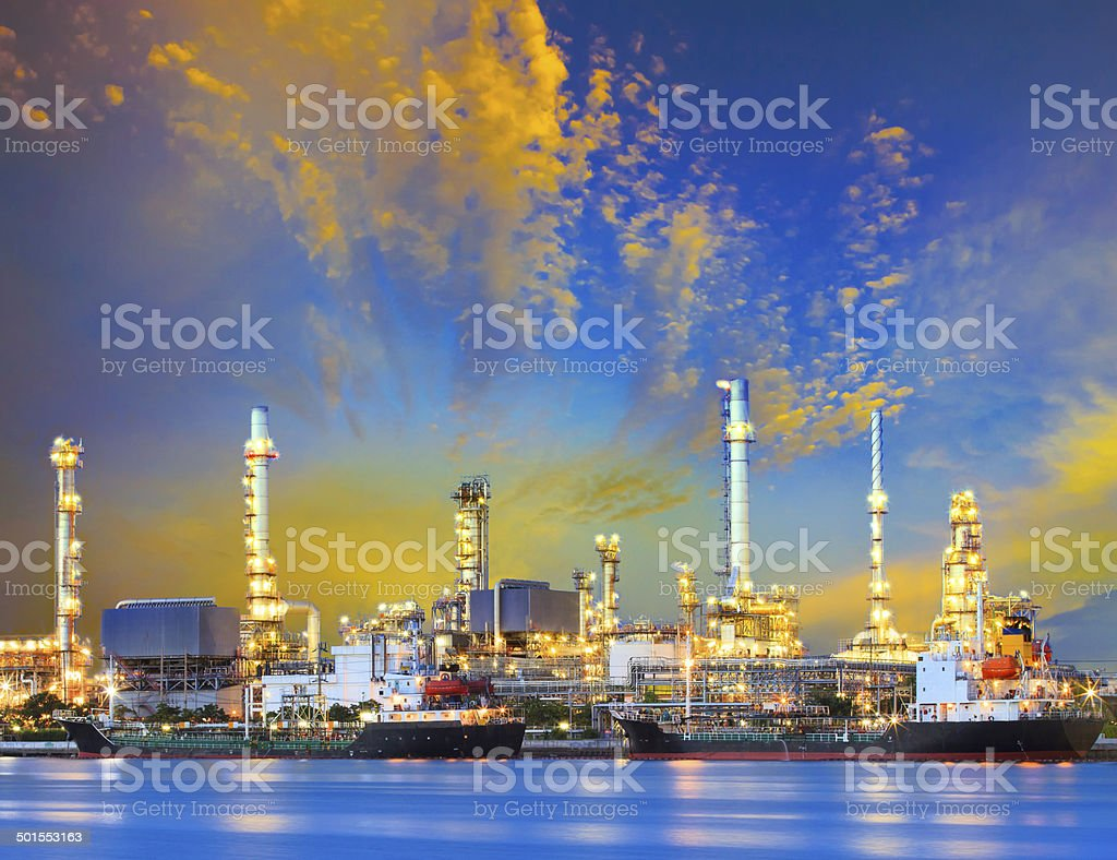 tanker ship and petrochemical oil refinery stock photo