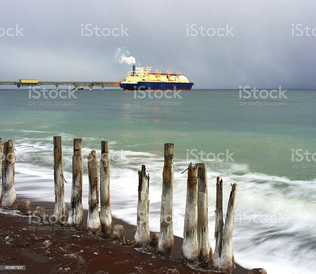 Tanker ship evening royalty-free stock photo