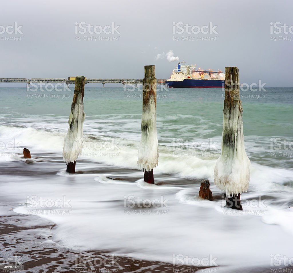 Tanker ship evening royalty-free stock photo