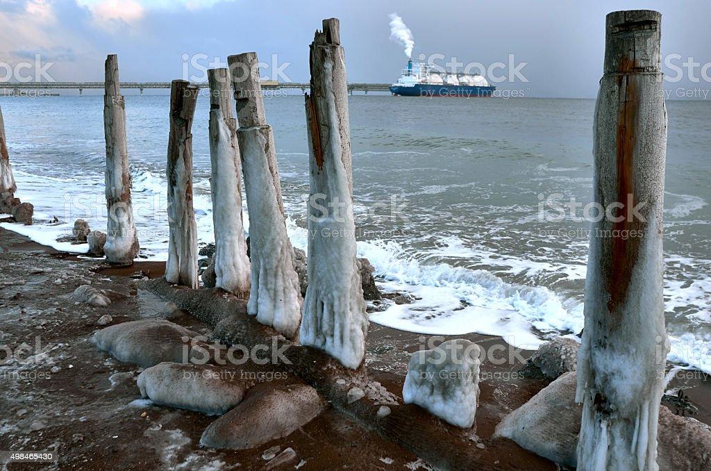 Tanker ship evening stock photo