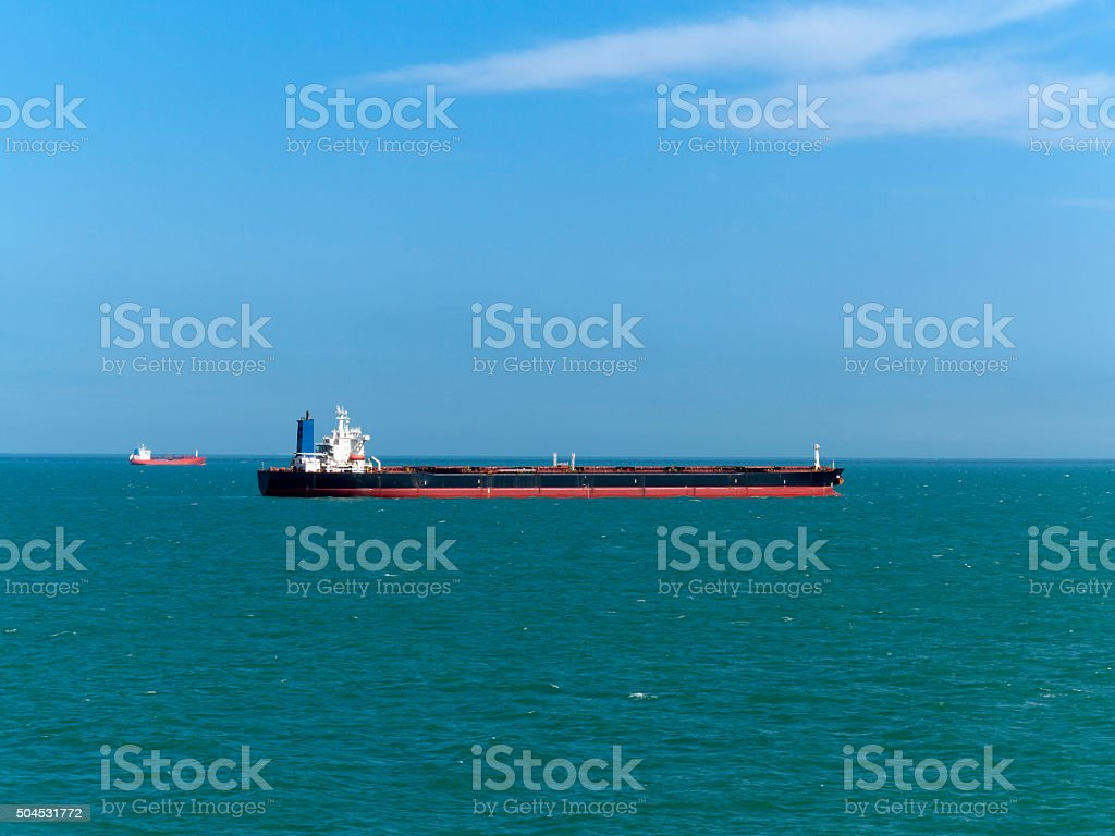 Tanker ship, North Sea stock photo