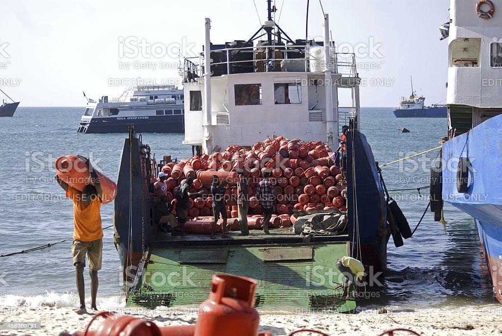 Tanker, Stone Town, Zanzibar, Tanzania stock photo